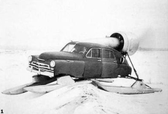 Car with pontoons for snow driving